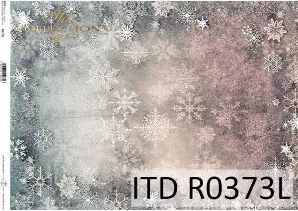 Papier decoupage świąteczne śnieżynki, tapeta do mix-mediów*Decoupage paper Christmas snowflakes, wallpaper for mix-media
