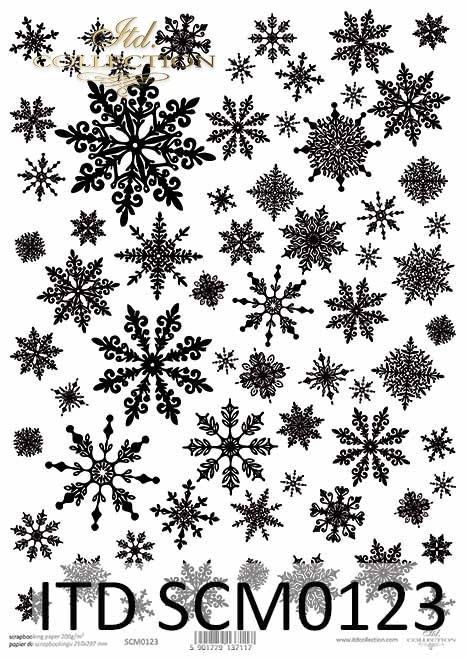 Papier scrapbooking Vintage, śnieżynki, zima, Boże Narodzenie*Vintage scrapbooking paper, snowflakes, winter, Christmas