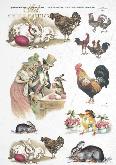 Easter, chickens, hares, rabbits, flowers, spring, eggs, Easter eggs, R306