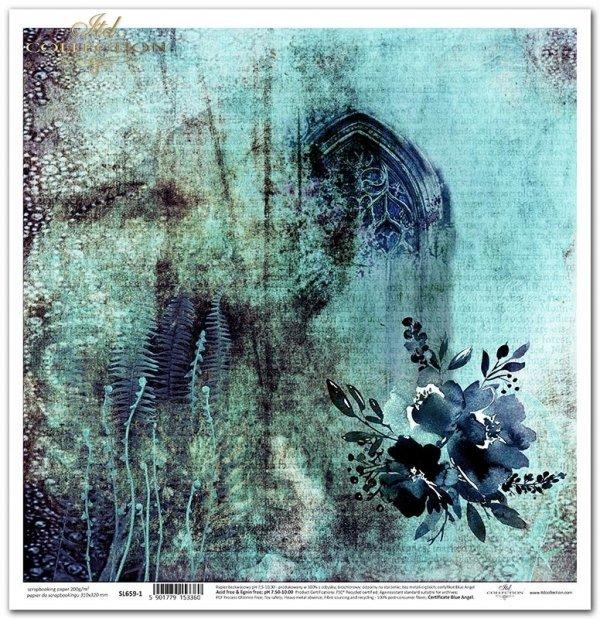 Seria Sekrety - Dolina Elfów. Granatowy bukiet kwiatów, okno, paprocie, tło