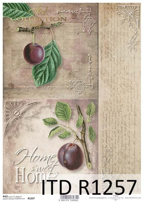 papier decoupage owoce, śliwki*Paper decoupage fruits, plums