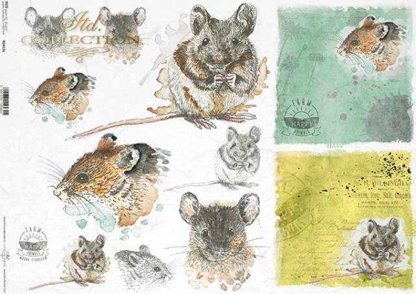 R0413L * wesołe myszy, szare myszki, mysie głowy, napisy 'happy farm'