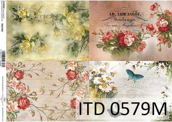 papier do decoupage kwiaty, róże, motyle*Paper for decoupage flowers, roses, butterflies
