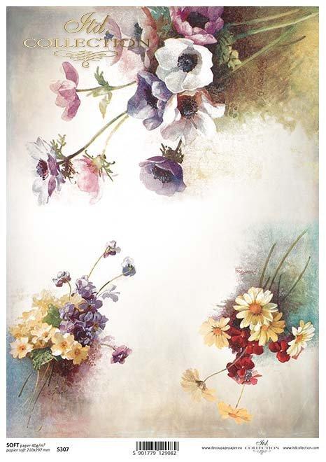 Papier decoupage Wildblumen*flores silvestres de papel decoupage*Papír Decoupage květy