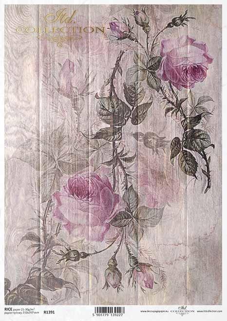 flores de papel decoupage, rosas en tableros*Papier Decoupage Blumen, Rosen auf Brettern*бумага декупаж цветы, розы на досках