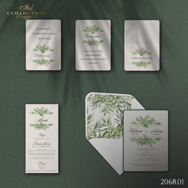 Zaproszenie 2068 * Zaproszenia ślubne * menu * winietka * koperta z wklejką - wersja 1