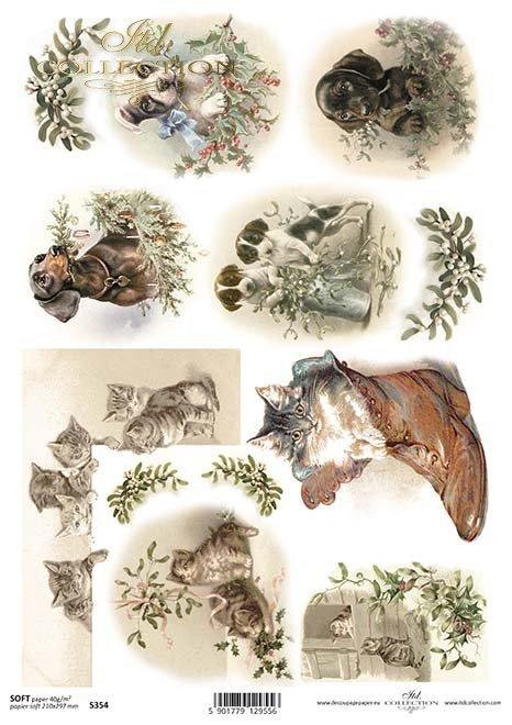 Papier Decoupage Weihnachten, Hunde, Katzen*Papír decoupage vánoční, psi, kočky*papel decoupage Navidad, perros, gatos