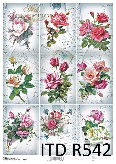 retro, vintage, kwiat, kwiaty, kwiatek, kwiatki, listki, liście, płatki kwiatów, róża, róże, róży, tagi, R542