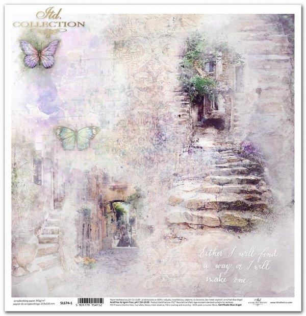 Seria Ogród marzeń - Ogród marzeń, cytat, motyle, kamienne schodki, śródziemnomorskie uliczki