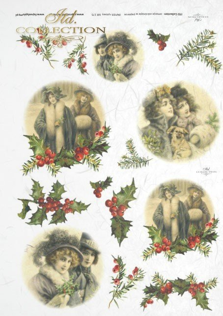 ITD Collection, decoupage, scrapbooking, mixed media, Christmas, holly,