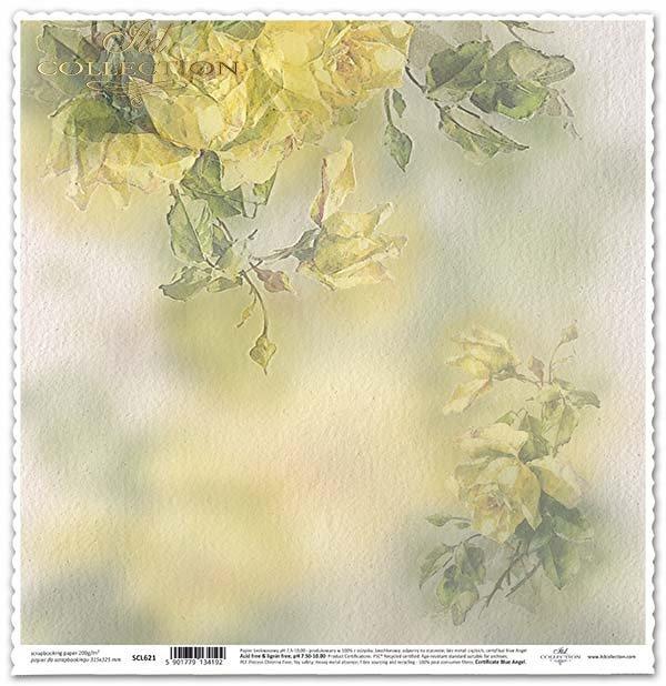 papel para scrapbooking, flores, rosas amarillas*бумага для скрапбукинга, цветы, желтые розы*Papier für das Scrapbooking, Blumen, gelbe Rosen