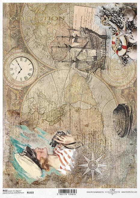 Papel decoupage vintage, mapas antiguos, veleros, conchas*Старинная бумага для декупажа, старые карты, парусник, снаряды*Vintage Decoupage Papier, alte Karten, Segelschiff, Muscheln