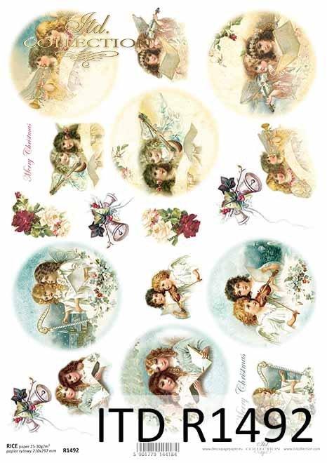 Boże Narodzenie, motywy świąteczne, Aniołki, motywy na bombki*Christmas, Christmas themes, Angels, Christmas baubles