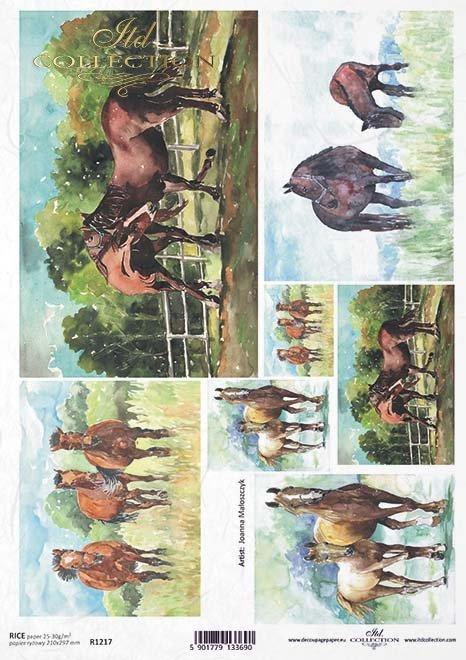 Papel Decoupage pintura contemporánea, caballos*Papier Decoupagepapier zeitgenössische Malerei, Pferde*Бумага Декупаж современной живописи, лошади