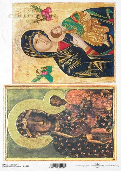 Papier ryżowy z ikonami - Madonna z dzieciątkiem * Rice paper with icons - Madonna and child