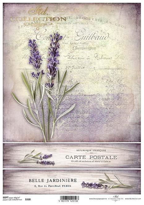 Papír decoupage Lavender*Papier decoupage Lavendel*Lavanda papel decoupage