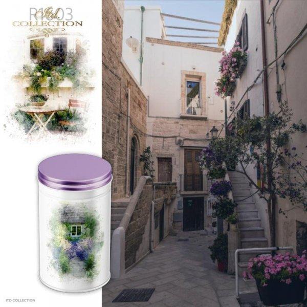 example 01 - papier ryżowy decoupage Akwarele,romantyczne kawiarenki, ukwiecony taras, lawendowa ścieżka, dom w kwiatach, lato