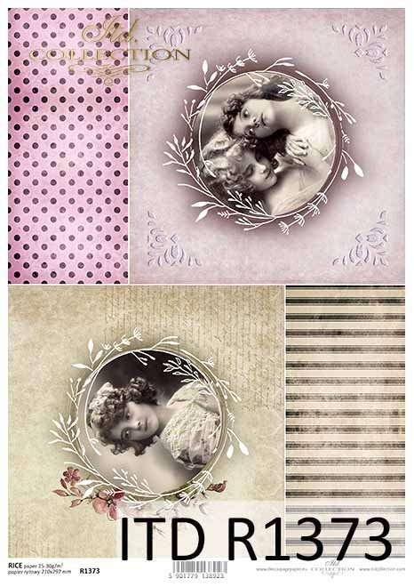 papier ryżowy buzie dziewczynek, Vintage, tła*rice paper faces of girls, Vintage, background