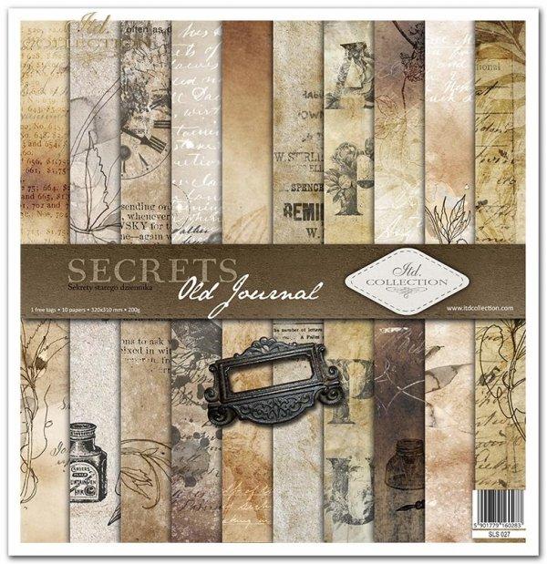 Seria Secrets Old Journal, sepia, stare papiery, napisy, pismo, tusz, vintage, stalówki, maszyna do pisania, inicjały, okucia, ramki, metalowe ramki, stalówki*Secrets Old Journal series, sepia, old papers, lettering, writing, ink, vintage, nibs, typewrite