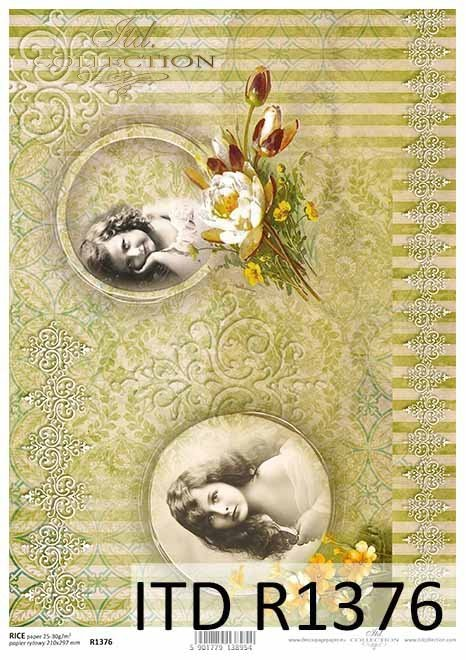 papier ryżowy Vintage, stare tapety, dekory, tła, twarze dziewczyn*Vintage rice paper, old wallpapers, decors, backgrounds, girls' faces