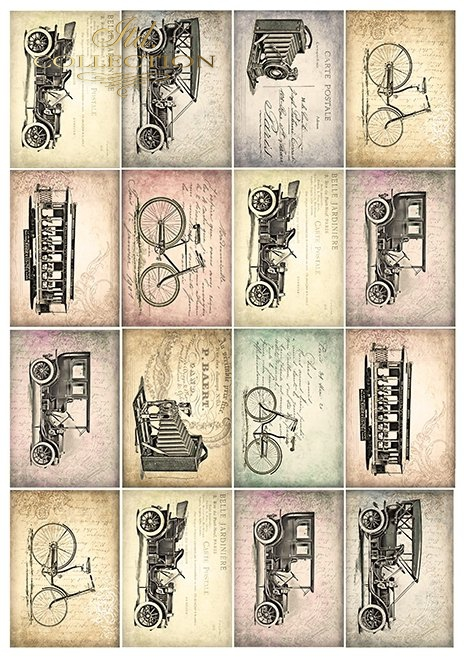 Papiery do scrapbookingu w zestawach - Stare samochody * Papeles para scrapbooking en sets - Autos viejos