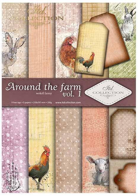 Papiery do scrapbookingu w zestawach - wokół farmy * Scrapbooking papers in sets - around the farm