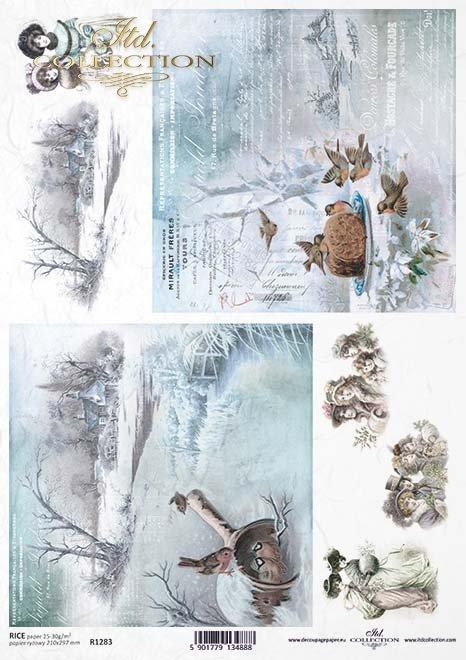 Decoupage de papel de época, visiones de invierno, pájaros*Vintage Papier Decoupage, Winter Visionen, Vögel*Винтажная декупажа бумаги, зимние видения, птицы