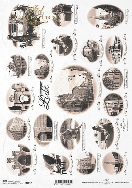 Papier ryżowy Vintage, znane miasta - Łódź*Rice paper Vintage, famous cities - Lodz