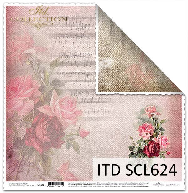 papier do scrapbookingu kwiaty, róże, nuty*Paper for scrapbooking flowers, roses, musical notes
