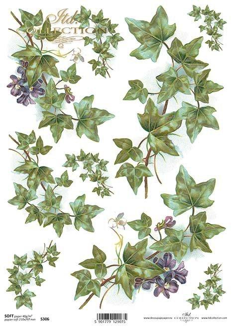 Papír decoupage břečťan, fialky*hiedra papel decoupage, violetas*Papier decoupage Efeu, Veilchen