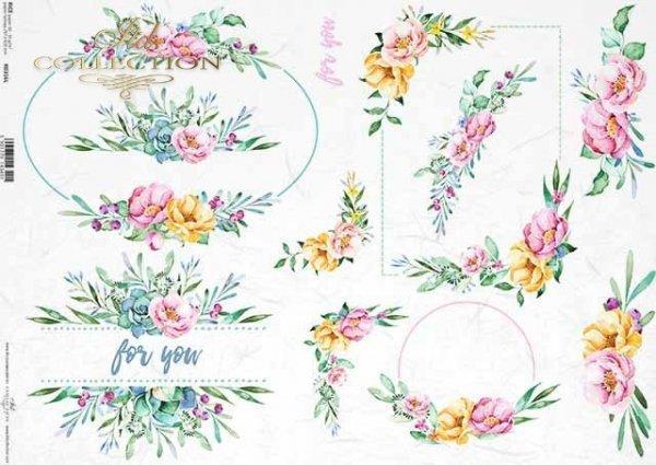 acuarelas de papel decoupage, flores, motivos de boda, en cajas*Wasserfarben, Blumen, Hochzeitsmotive, auf Boxen*декупаж бумажные акварели, цветы, свадебные мотивы, на коробках