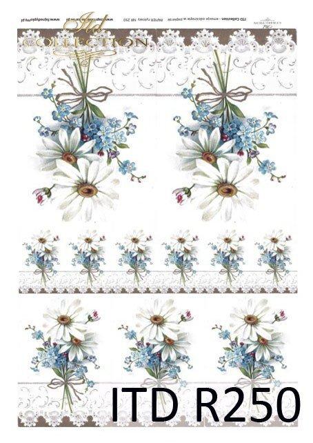 kwiaty, kwiatki, nagietki, niezapominajki, koronka, koronkowe ornamenty, R250