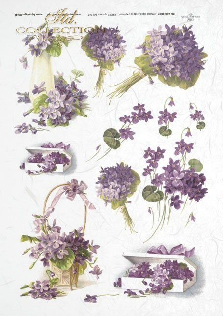 flower, flowers, flower arrangement, violets, bouquets of violets, retro, baskets