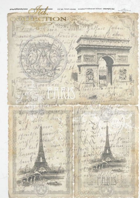 old Paris, Eiffel tower, old postcard, hand written, the most beautiful cities
