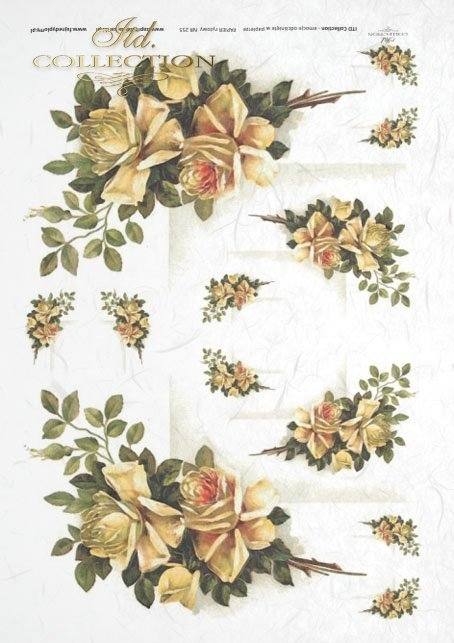 flowers, leaves, rose, yellow roses, decoupage paper with flowers from the garden, decorative frames
