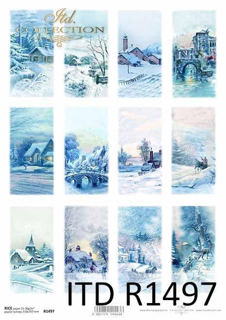 Boże Narodzenie, motywy na świeczki, butelki, zimowe widoczki*Christmas, motifs for candles, bottles, winter views