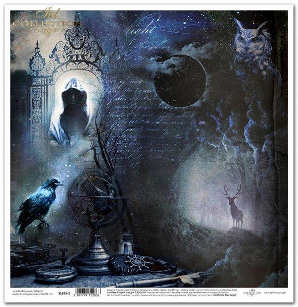 Nieodkryty magiczny świat - Alchemia, globus, Kruk, ptak, mgła, las, sowa, zaćmienie, księżyc, drzewo, napisy, jeleń, brama, zakapturzona postać, niebo, galaktyka, tajemnica...