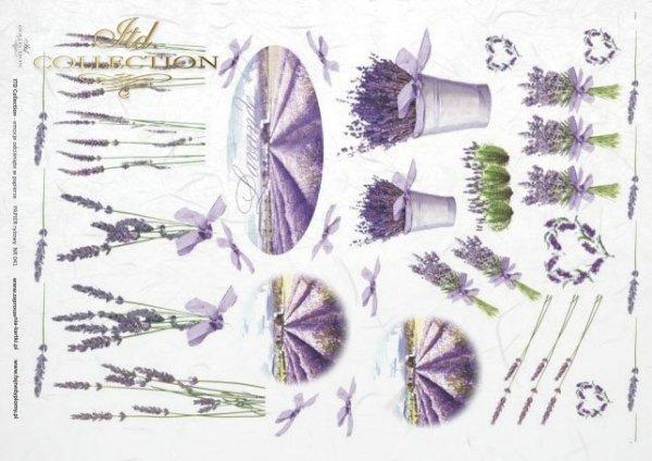 Papier ryżowy decoupage - lawenda na wiele sposobów, Lawendowe pola, bukiety z lawendy, R0041