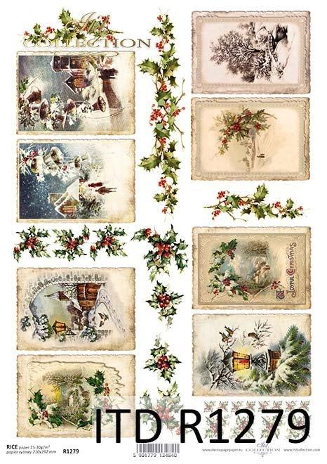 Boże Narodzenie, zimowe widoczki w ramkach, ostrokrzew*Christmas, winter framed pictures, holly
