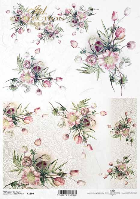 Decoupage papel arroz primavera flores, ramos de flores*Decoupage Papier Reis Frühlingsblumen, Blumensträuße*Декупаж бумага рисовые весенние цветы, букеты