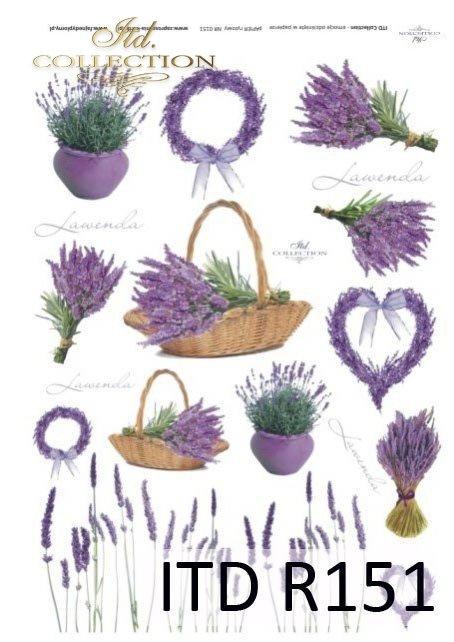 papier ryżowy decopage - lawenda, lawendowe pole, kwiaty lawendy, lawendowe kwiaty, R0151