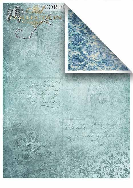 Papeles para scrapbooking en sets - cuatro elementos-agua*Бумага для скрапбукинга в наборах - четыре стихии - вода