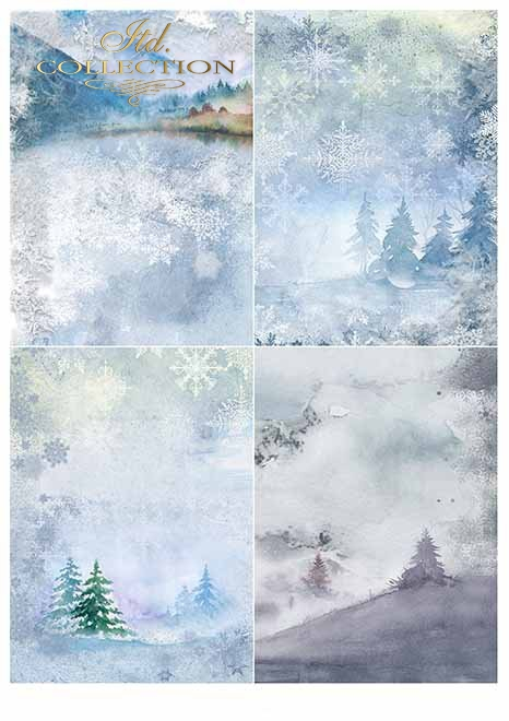 Papiery do scrapbookingu w zestawach - zima*Papers for scrapbooking in sets - winter