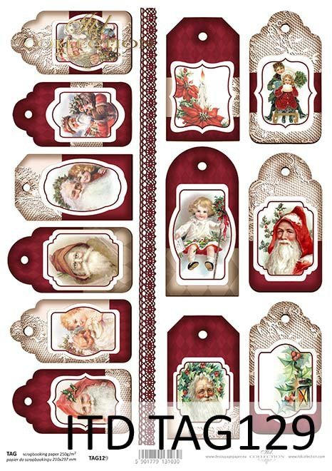 Papier do scrapbookingu-Świąteczne Tagi*Paper for Scrapbooking-Christmas Tags