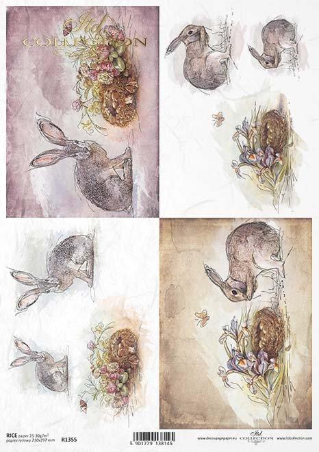 papel de arroz decoupage animales, liebres*Reispapier Decoupage Tiere, Hasen*рисовая бумага, декупаж, зайцы