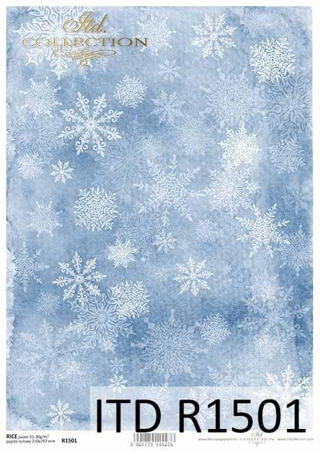 białe śnieżynki na niebieskim tle*white snowflakes on a blue background