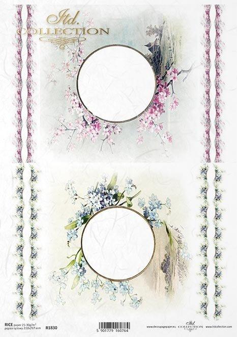 ramki, szlaczki, dekory, widoczek, kościół, budynek, niezapominajki, kwiat wiśni*frames, slides, decors, view, church, building, forget-me-nots, cherry blossom