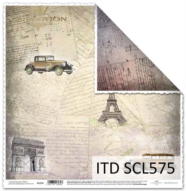 Papier do scrapbookingu - stare listy,znane miejsca, stare auta*Paper for scrapbooking - old letters, familiar places, old cars