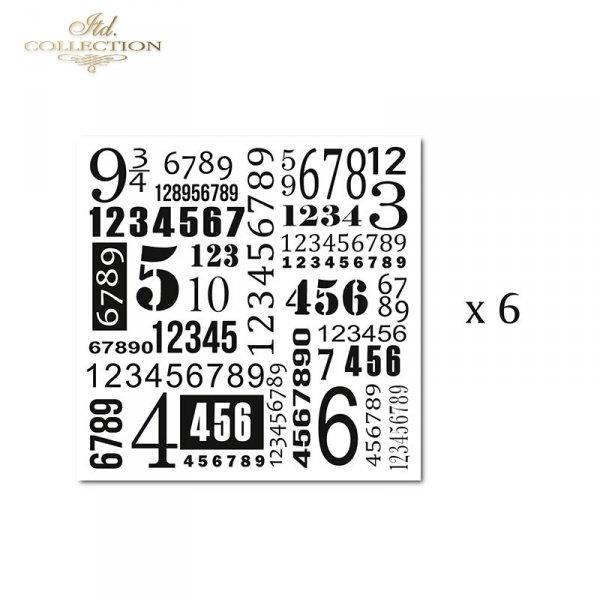 Zestaw 6 papierów specjalnych do mix media, scrapbookingu - cyfry, liczby