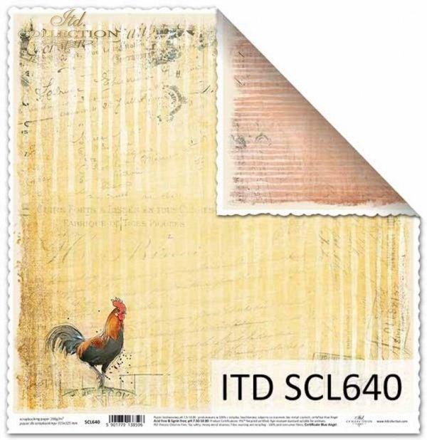 Papier scrapbooking Vintage, stemple, koguty*Vintage scrapbooking paper, stamps, roosters